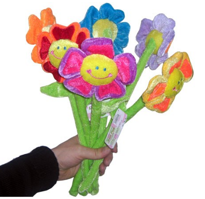 Plüsch-Blumen als Zeichen unvergänglicher Liebe